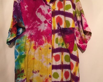 Oversized Multi-Pattern Tie Dye Top