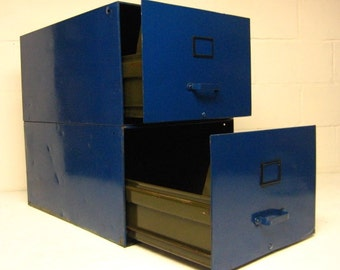 Vintage Industrial Metal File Cabinet, Blue Stacking Filing Cabinet, Filing Drawer, Industrial Decor, Side Table with Storage