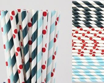 Patriotic 4th of July Paper Straw Mix-Nautical Paper Straw-Mason Jar Straw-Birthday Party Straws-Red White and Blue-Striped and Polka Dot