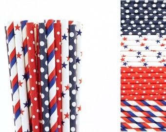 4th of July Paper Straw Mix-Polka Dot Straws-Striped Straws-Star Straws-Red Straws-Blue Straws-Patriotic Straws-Fourth of July BBQ Straws