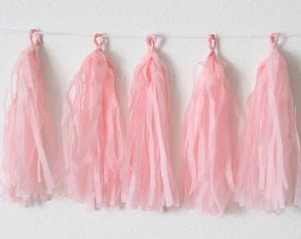 Tissue Paper Tassel Garland DIY KIT- Blush Party Decor-Vintage Birthday Party Decor-Blush Wedding Garland-Blush Tissue Paper-Ballerina Party