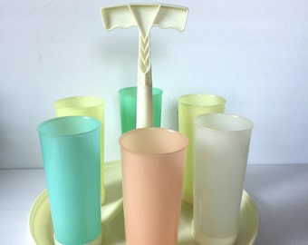 Mid-century Tupperware Carousel Caddy with Six Pastel Tumblers