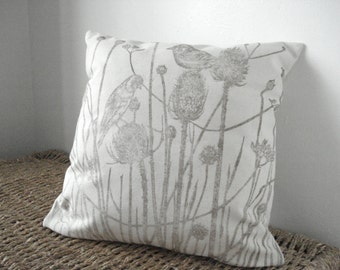 Hand block printed fabric, Teasels, nature print, neutral cushion cover