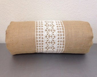 Burlap bolster neck roll pillow- Housewares/Home and Living/Home accessories/Neck Pillow/Bedding/Bolster/