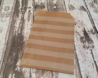 """25 Kraft Brown Horizontal Stripe Paper Bags, 4"""" X 6"""". Favor Bags, Party, Wedding, Shower, Candy Bags"""