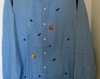 On Sale Vintage '90's NEW Warner Bros Studio Store Tweety Bird Denim Boyfriend Shirt, Size Large, New with Size Tag, Tweety Bird Blouse