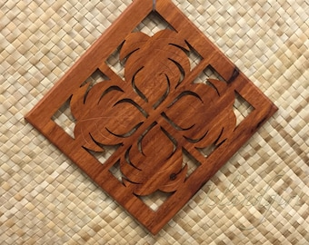 Monstera Wood Trivet - Pot Holder