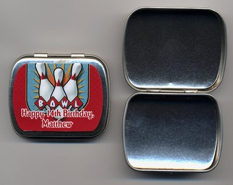 6 Bowling party favor mint tins unfilled with personalized stickers