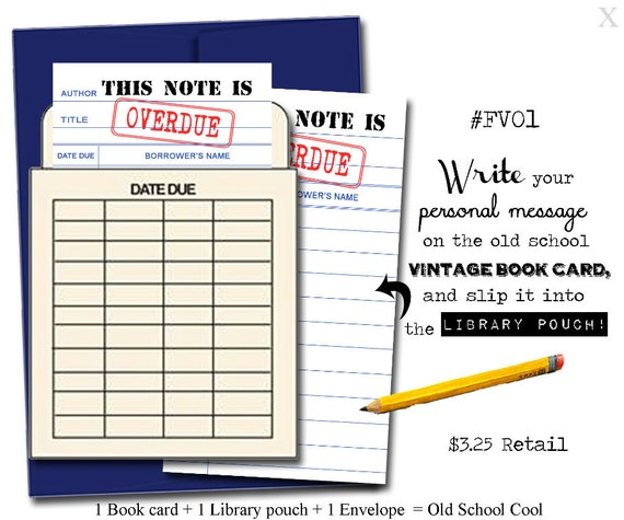 This Note Is Overdue. Book Themed Greeting Card With A Vintage