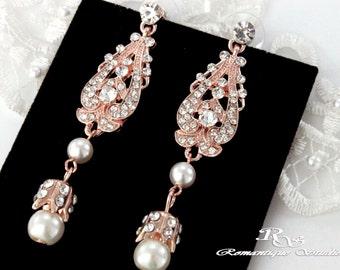 Rose gold bridal earrings rose gold crystal earrings rose gold wedding earrings peach crystal earrings rose gold bridal jewelry - 1317RG