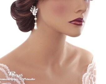 Crystal wedding earrings Swarovski pearl bridal earrings statement earrings sparkly crystal earrings art deco vintage earrings - 1321