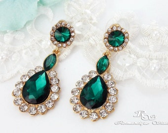 GOLD emerald green earrings crystal wedding earrings bridal jewelry wedding jewelry bridesmaid earrings  bridal earrings accessory 1326