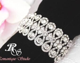 Bridal bracelet statement bracelet cuff crystal wedding bracelet vintage style prom rhinestone bracelet bridesmaid bracelet - B0113