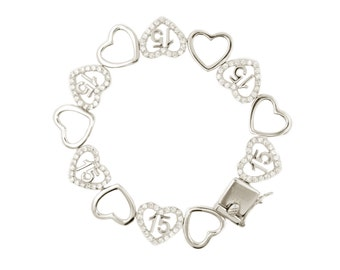 Quinceanera .925 Sterling Silver Dancing Hearts Bracelet (Free Shipping)