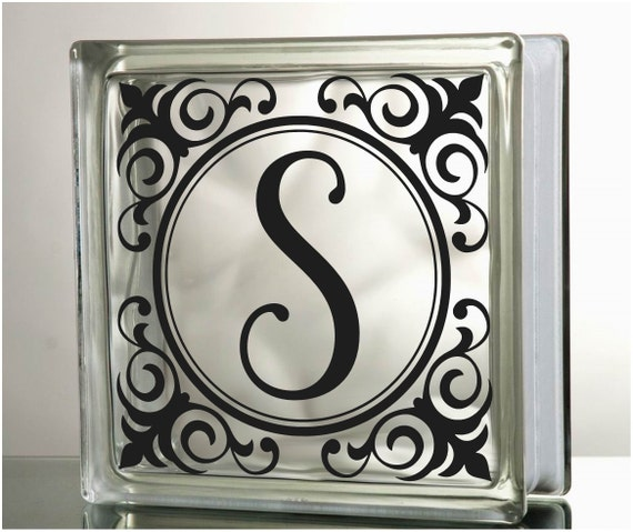 monogram frame glass block decal vinyl lettering wedding anniversary personalized customized wedding monogram diy glass block