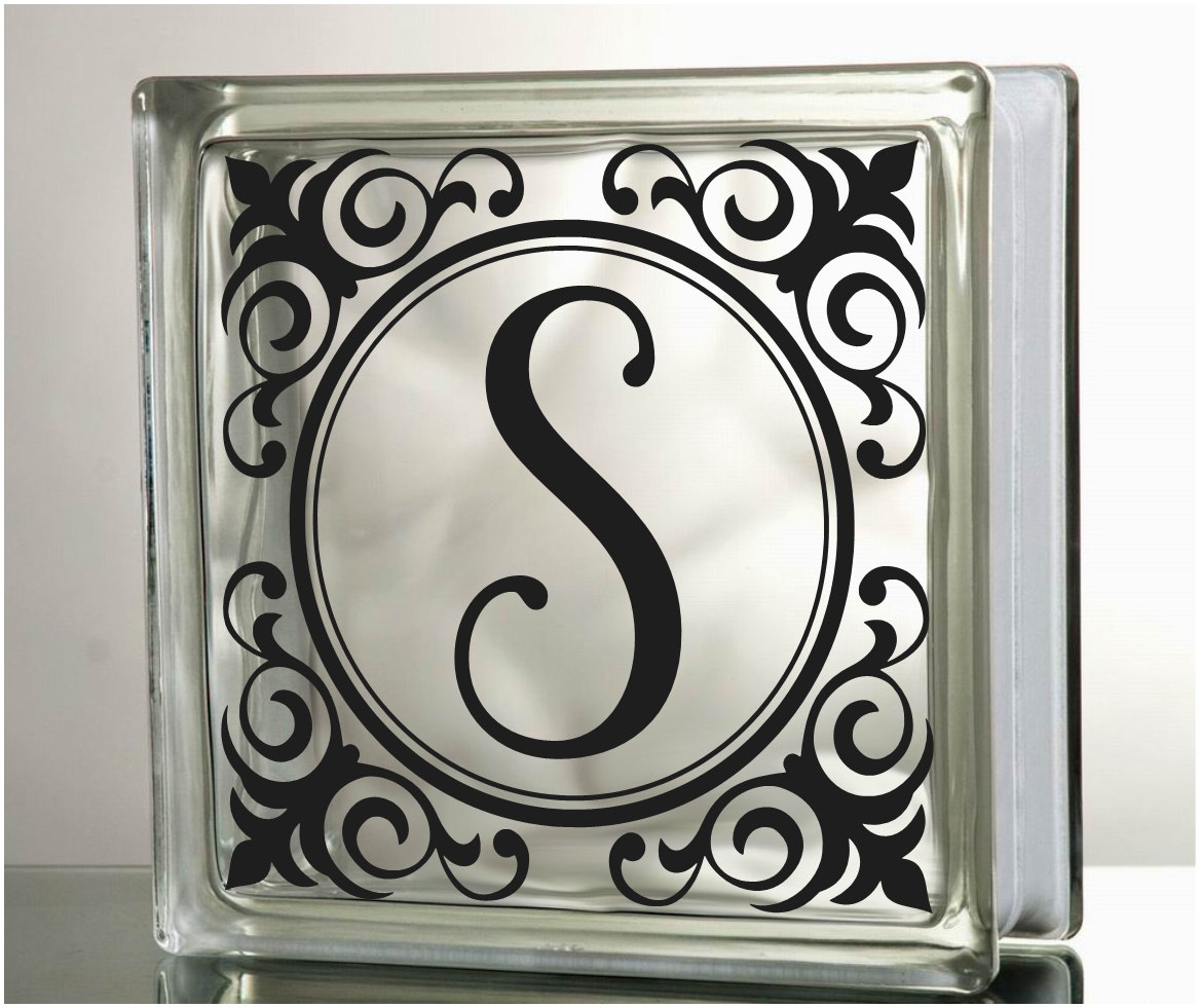 Monogram frame glass block decal vinyl lettering wedding for Glass block window frame