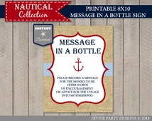 INSTANT DOWNLOAD Nautical 8x10 Message in a Bottle Sign / Printable / Nautical Collection / Item #612