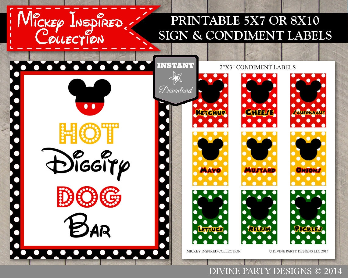 instant download printable mouse 5x7 and 8x10 hot diggity dog With 5x7 printable labels