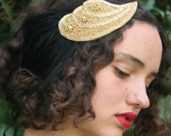 Gold 1920s Headband, Gold Flapper Headpiece, Great gatsby rhinestone Fascinator, 1920s Gold Dress Headband, Art Deco Gold Dress