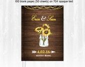 Sunflower Wedding Guest Book Custom Guest Book Personalized Wood Guest Book Sunflower Guest Book Wedding Guestbook Rustic Guest Book Country