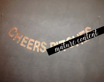 Cheers B!tches Glitter Banner - Gold Glitter Sign - Bachelorette Party Decor, Cheers Bitches, Bachelorette Decorations, Wedding Garland