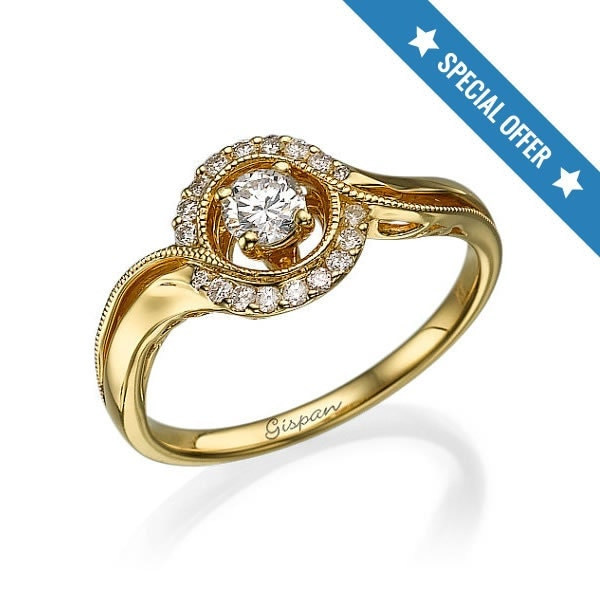Sale Vintage Engagement Ring 14K yellow gold unique milgrain