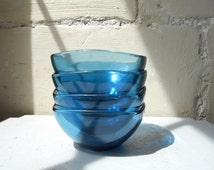 Mid century 4 Vereco blue bowls, French breakfast, coffee bowls 1960s France, glass bowls