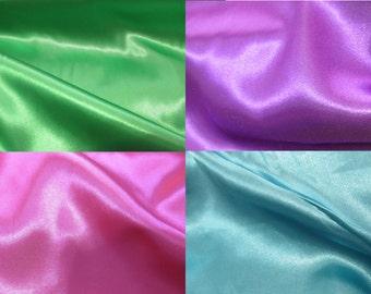 Satin Fabric- Apple Green, Shocking Pink, Turquoise, Purple
