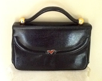Vintage Morris Moskowitz Black  Leather Purse / 1970's 80's / Small / Retro / Preppy / Mod /  Boho / High Fashion / Top Handle