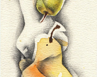 Watercolor pear painting, abstract fruit painting print, still life. Yellow pear art for kitchen