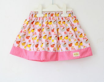 Pink Girl's Skirt, cupcake skirt, toddler skirt, baking skirt, cupcake print and polka dot hem combination