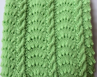 Baby Blanket hand knitted in a beatiful Mint Green colour. Comfortable, Snug Warm.