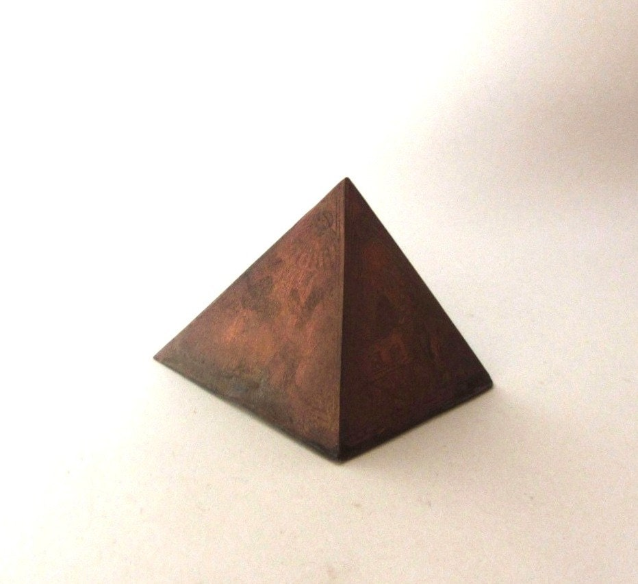 Pyramid paper weight Old copper office desk accessory  Metal