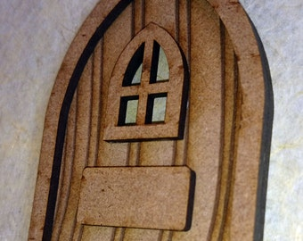 Fairy Door with window and name plate. Laser cut from MDF. Wooden craft blank with template for window. Ready to decorate or decoupage