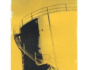 Water Tower screenprint - industrial art print, architecture art print, city wall art