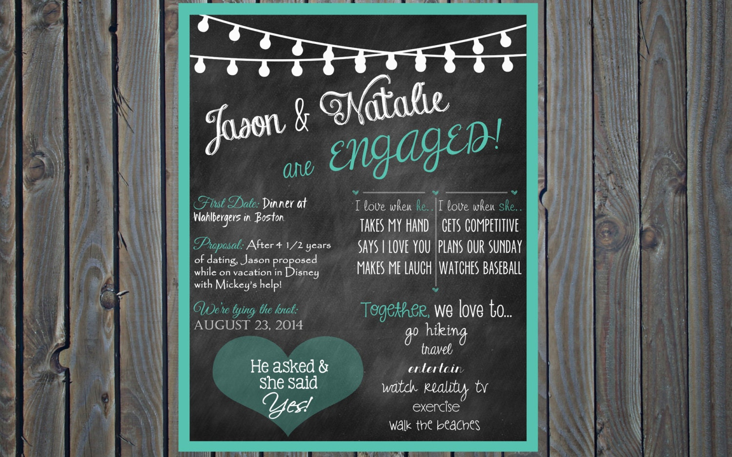 Printable Custom Chalkboard Engagement Party Poster Sign