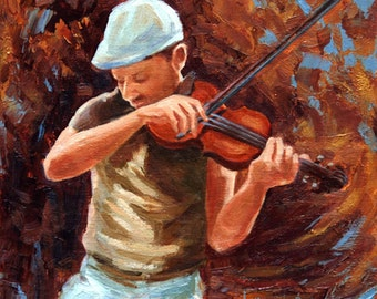 FIDDLE FADDLE, an original oil painting by DJ Lanzendorfer