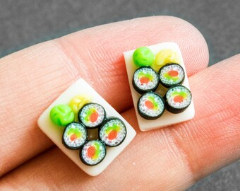 Polymer clay earrings miniature food sushi