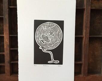 Dreamy - Linoleum Block Print