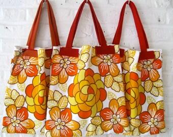 Handmade Recycled Orange Floral Bag