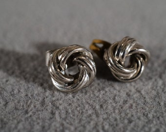 Vintage Traditional Style Silver Tone Stud Style Love Knot Pierced Earrings Twisted Jewelry   K
