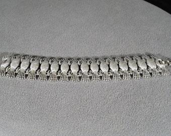 Vintage Art Deco Style Silver Tone Designer Signed Sarah Coventry Line Link Bracelet Jewelry   K