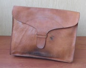 Vintage Very Large Size Aged Tan Amber Brown Leather Clutch Hand Bag