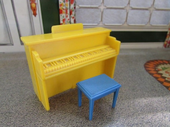 Vintage Marx Plastic Dollhouse Piano And Bench By Foxlanevintage