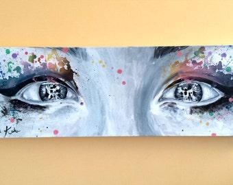 Original Contemporary Portrait Eyes Painting Splashes of Color Eyelashes Splatter Makeup Skin Face Beautiful Woman Art by Keiko 12x36