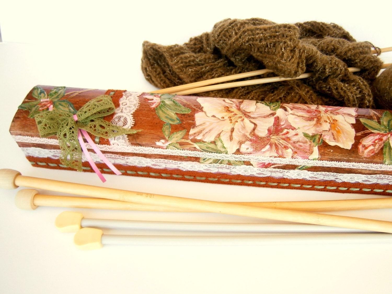 Knitting Needle Storage Box : Knitting needle case needles organizer by woodychic