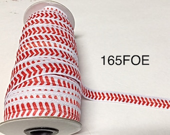 "3 or 5 yard - 5/8"" Red Baseball inspired on White Fold Over Elastic Headband Hair Accessories"