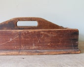 Antique Cutlery Tote - Knife Box - Utensil Carrier / Holder - Primitive - Rustic - Country - Farm House Decor - Tool Caddy - Dark Color