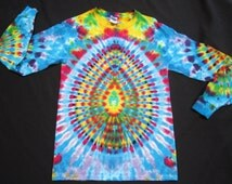 LSS39 Psychedelic Turtle Egg w/Spine on Back, Long Sleeve Tie Dye T-shirt, Fits Unisex Small