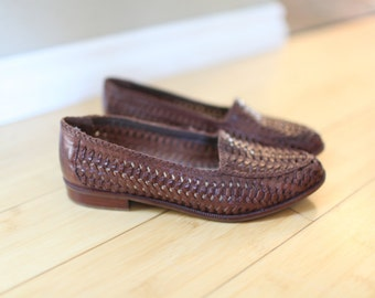 vintage braided brown leather woven loafers 6